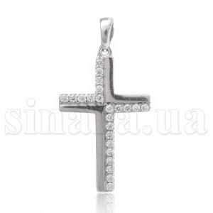 Декоративный серебряный крест с цирконием 22013