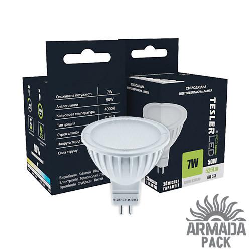 Светодиодная лампа TESLER 7W цоколь GU 5.3 525 LM