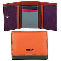 Маленький кожаный женский кошелек с RFID защитой Kafa (413 orange-dark green)