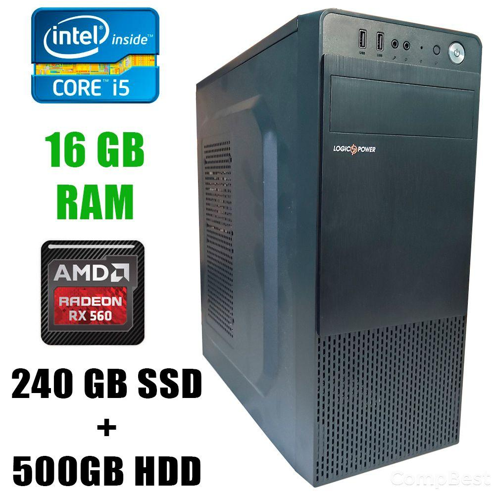 Игровой ПК Logic Power LP2008 / Intel® Core™ i5-3470 (4 ядра по 3.20 - 3.60GHz) / 16GB DDR3 / 240GB SSD+500GB HDD / Radeon RX560 4GB GDDR5 128 bit