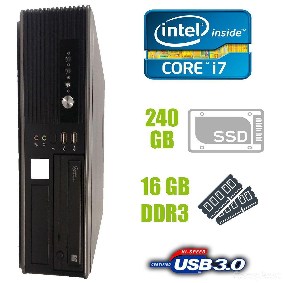 MSI SFF / Intel Core i7-2600 (4 (8) ядра по 3.4-3.8GHz) / 16 GB DDR3 / 240 GB SSD new! / USB 3.0, SATA 3.0, PCI Express 3.0
