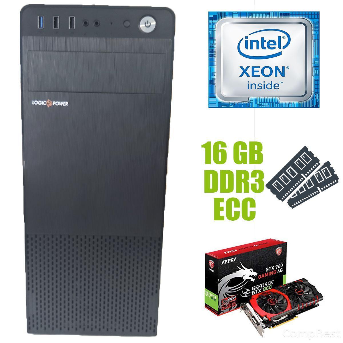 Logic Power LP2008 ATX / Intel Xeon E5-2650 (8 (16) ядер по 2.0-2.8 GHz) / 16 GB DDR3 ECC / new 240 GB SSD+500 GB HDD / nVidia GeForce GTX 960 4GB
