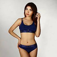 Комплект Calvin Klein топ стринги полоска темно-синий в стиле
