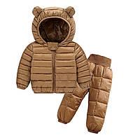 Комплект демисезонный (куртка + штаны) детский, Ушки, коричневый Berni