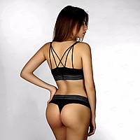 Комплект Calvin Klein топ стринги полоска черный в стиле