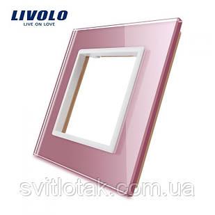 Рамка розетки Livolo 1 пост рожевий скло (VL-C7-SR-17)