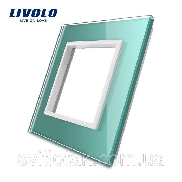 Рамка для розетки Livolo 1 пост зеленый стекло (VL-C7-SR-18)