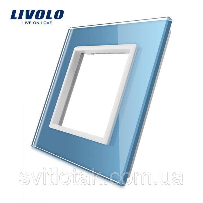 Рамка для розетки Livolo 1 пост голубой стекло (VL-C7-SR-19)