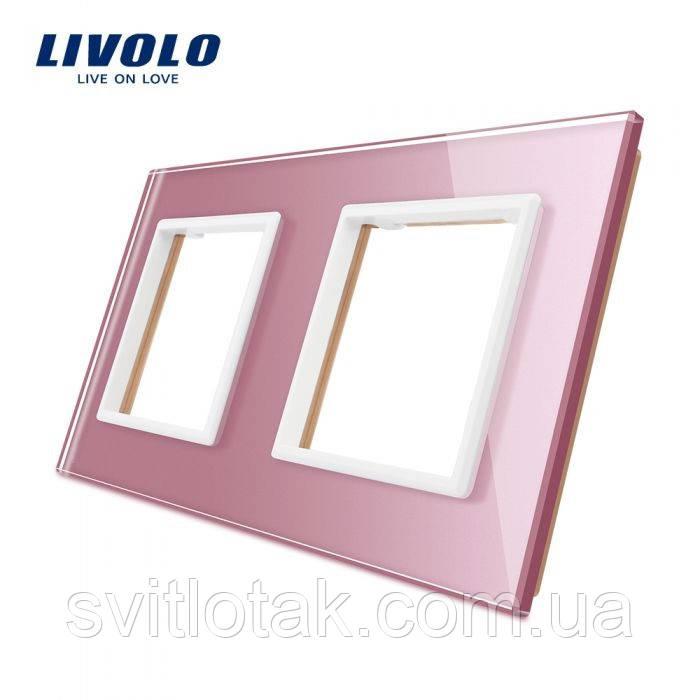 Рамка для розетки Livolo 2 поста розовый стекло (VL-C7-SR/SR-17)