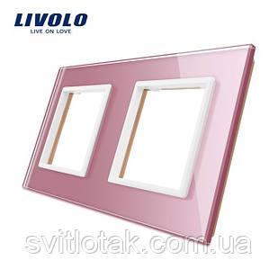 Рамка розетки Livolo 2 поста рожевий скло (VL-C7-SR/SR-17)