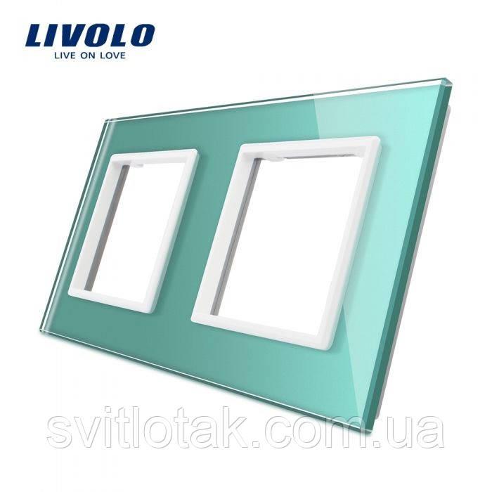 Рамка для розетки Livolo 2 поста зелений стекло (VL-C7-SR/SR-18)