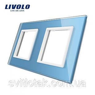 Рамка розетки Livolo 2 поста голубой стекло (VL-C7-SR/SR-19)