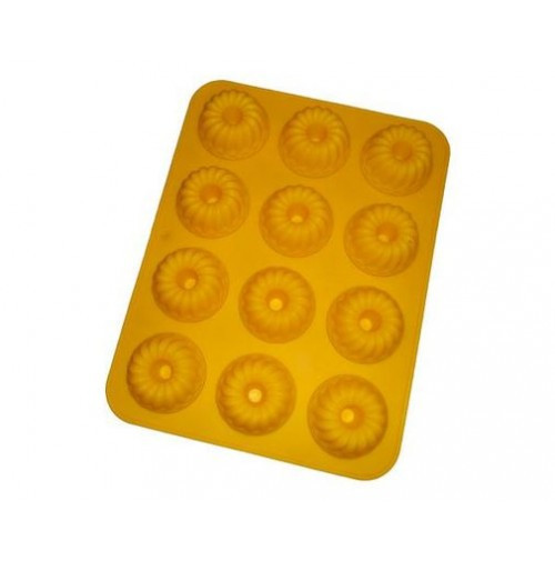 Форма силиконовая для кексов рифленая с втулкой из 12 шт.
