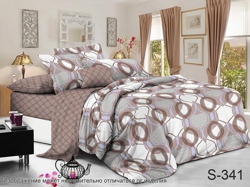 Комплект постельного белья  из сатина  с компаньоном S341, разные размеры евро