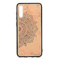 Чехол Embossed для Samsung Galaxy A70 2019 / A705F бампер накладка тканевый бежевый, фото 1
