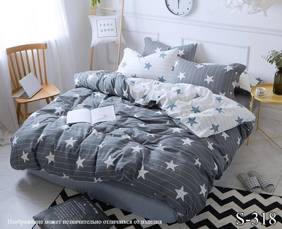 Комплект постельного белья из сатина с компаньоном Звезды S318,  разные размеры двуспальный