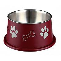 Trixie (Трикси), Миска для длинноухих собак, нержавеющая сталь с пластиковым покрытием, 0.9л/15см, бордовая
