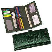 Кошелек женский кожаный лаковый Kafa с RFID защитой (AE031-1 green)