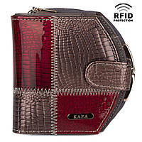 Компактный Женский Кошелек Кожаный Kafa с RFID защитой (AE1869 silver grey-date red)