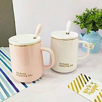 Кружки | Чашки | Оригинальные чашки и кружки | Чашка керамическая Enjoing life with Spoon (выбор цвета)