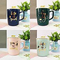 Кружки | Чашки | Оригинальные чашки и кружки | Чашка керамическая Gold Rabbit with Gold Spoon (выбор цвета)
