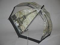 Прозрачный зонт - трость города №006