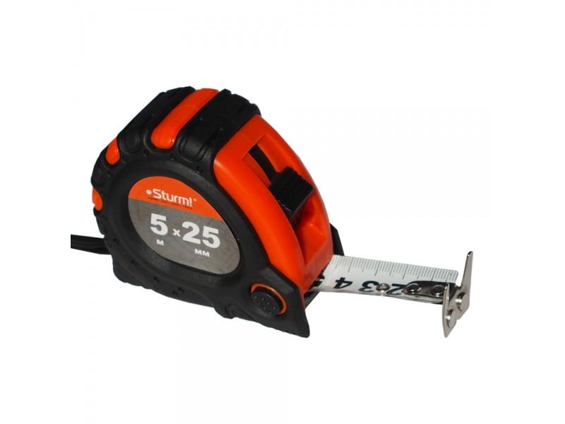 Рулетка 5мХ25мм 2х сторонняя шкала и зацеп, магнит Sturm! 3100102
