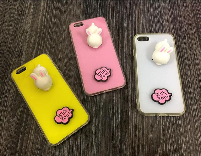 """Плаcтиковый чехол для iPhone 7 Plus / 8 Plus """"With You!"""" Желтый с кроликом"""