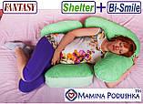 Подушка для беременных Fantasy Bi-Smile. В комплекте Наволочка 2-сторонняя (Салатовые узоры / Салатовые точки), фото 8