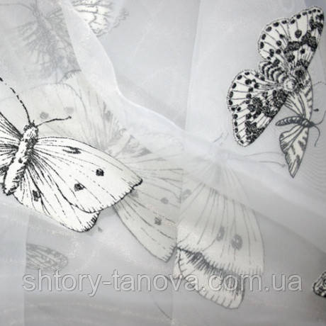 Органза тибер бабочки белый