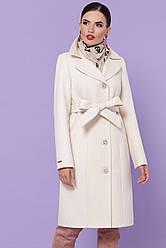 Жіноче кашемірове пальто молочного кольору