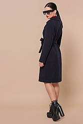 Жіноче осіннє пальто темно-синього кольору