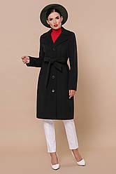 Чорне жіноче пальто до колін з поясом