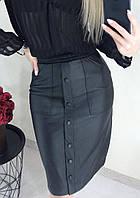 Черная юбка из кожзама