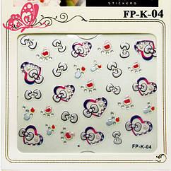 Самоклеющиеся Наклейки для Ногтей 3D Nail Sticrer FP-К-04 Красные Сердечки Жемчужные Бантики с Камушками