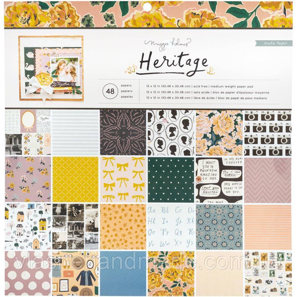 Набір одностороннього паперу - Heritage - Maggie Holmes - Crate Paper - 30х30