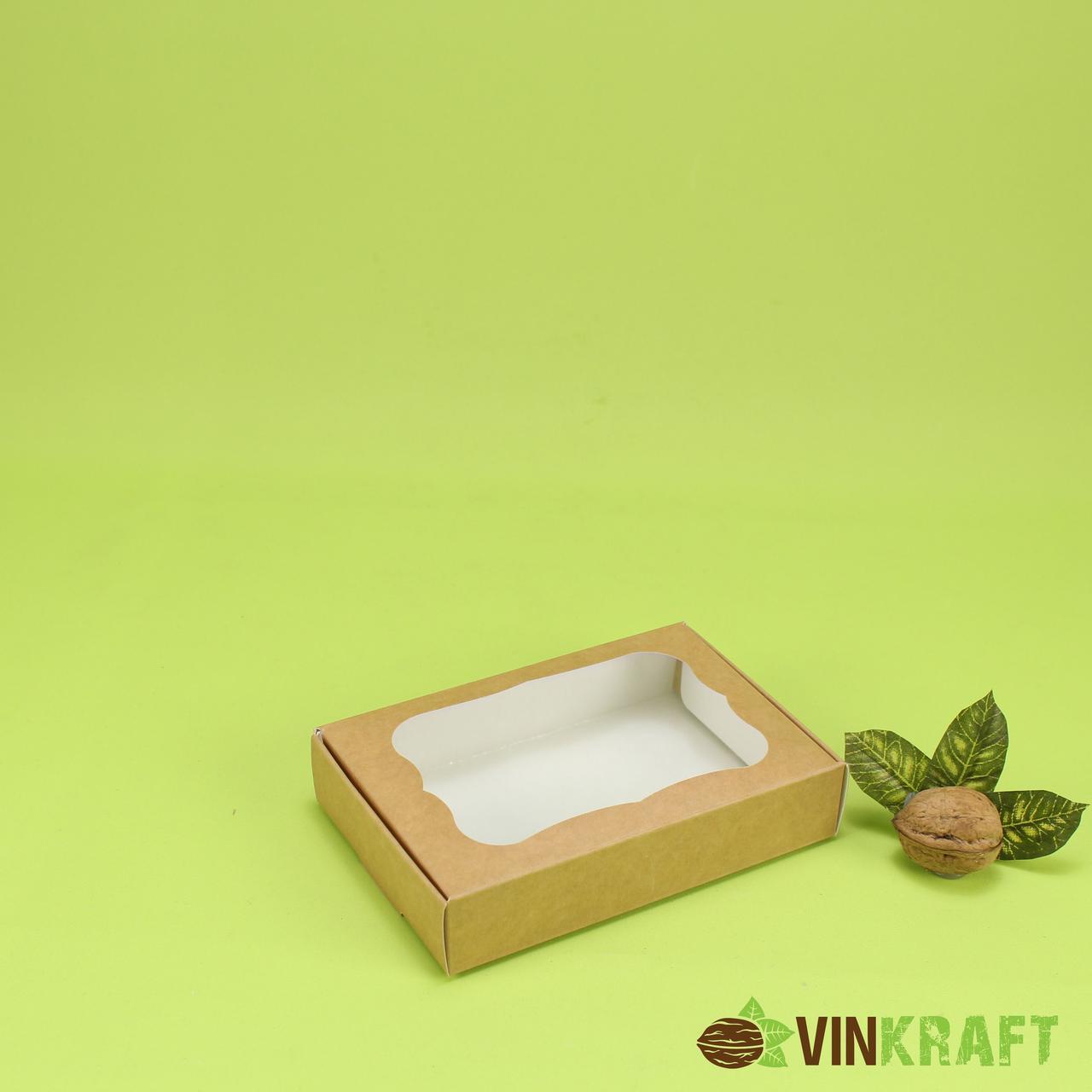 Коробка 150*100*30 для пряника з вікном, крафт