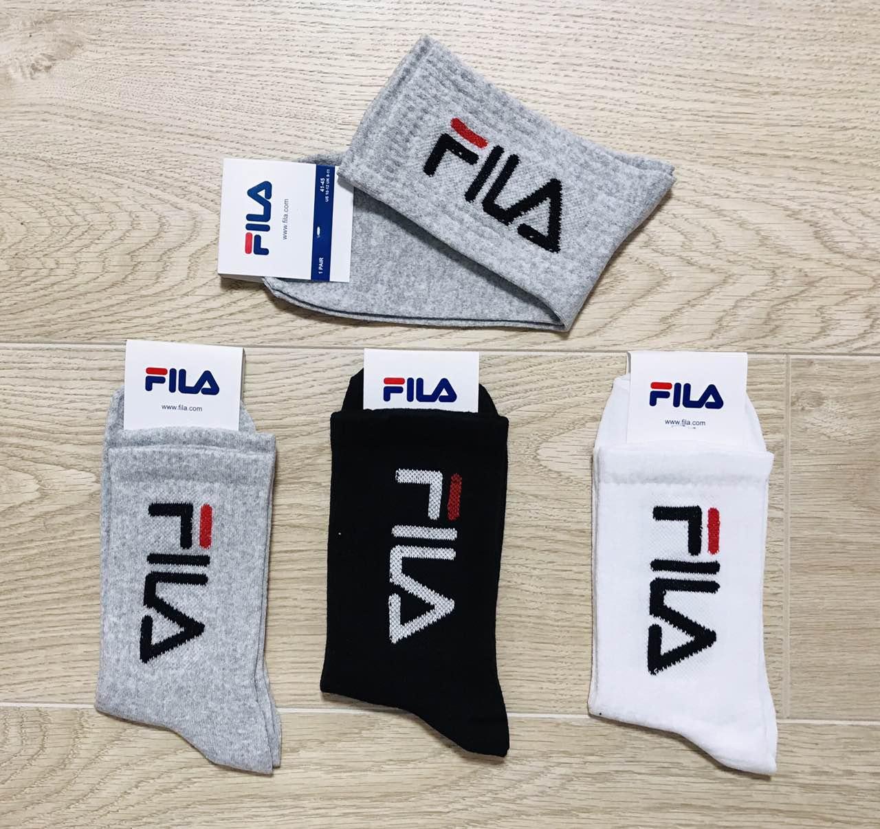 Носки спортивные демисезонные хлопок FILA размер 41-45 ассорти высокие
