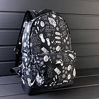 Рюкзак черный Nike с двумя отделениями и принтом след