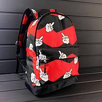 Рюкзак черно-красный с двумя отделениями и принтом палец