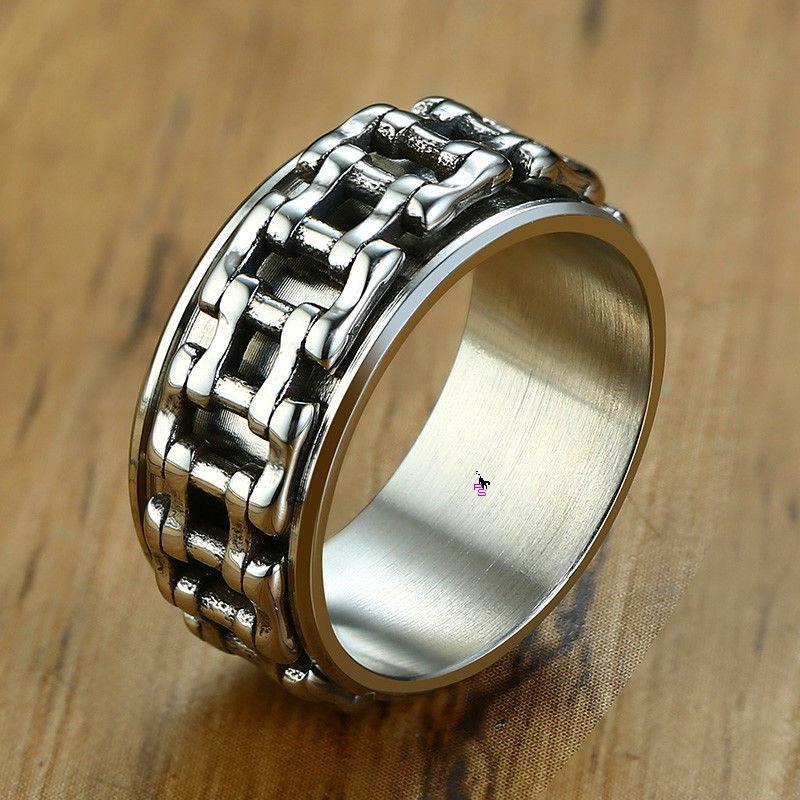Стильное модное кольцо с мото-цепью 16173