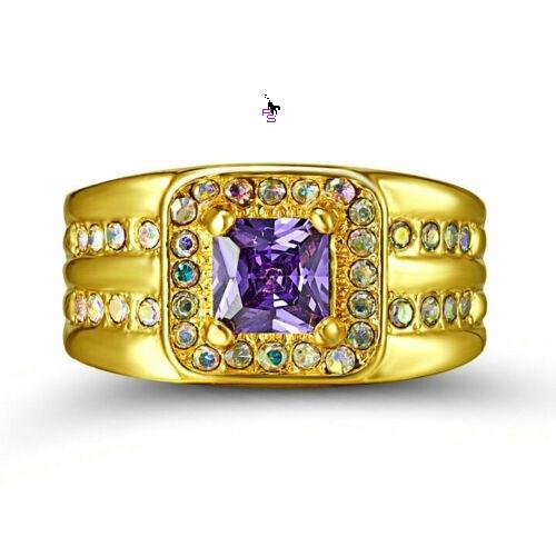 Роскошный мужской перстень с сиреневым камнем