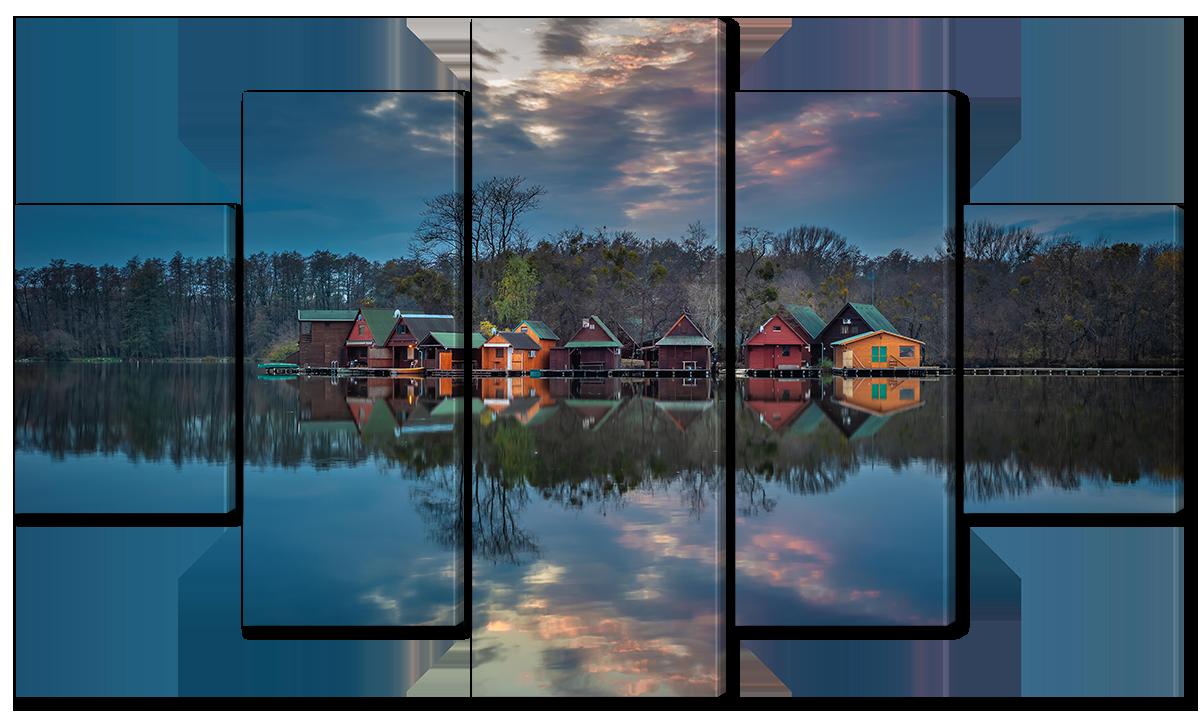 Модульная картина Interno Эко кожа Домики у озера 142х80см (A1705L)