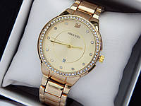 Swarovski - женские наручные часы с камушками, золото с золотым циферблатом, дата, фото 1