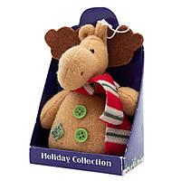 Мягкая игрушка сувенирная Коричневый лось с зелеными пуговицами, 9 см (000265-12)