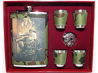 NF4-136 Набор: фляга + 4 стопки + лейка, Подарочная фляга, Фляжка для спиртного, Фляга из нержавейки