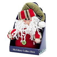 Мягкая игрушка сувенирная Красный Дед Мороз в зеленой шапке, 9см (000265-15)