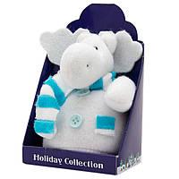 Мягкая игрушка сувенирная Белый лось с голубым шарфом, 9см (000265-17)