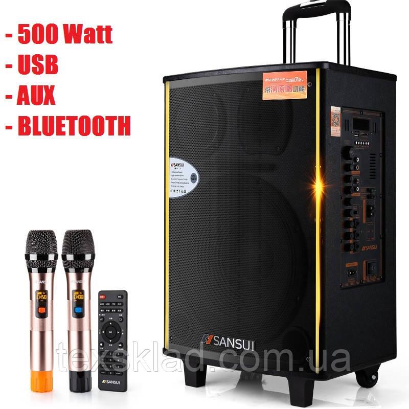 Потужна акумуляторна колонка Велика з мікрофонами Sansui SA1-15W 500W (USB/Bluetooth/Пульт ДУ)