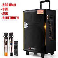 Потужна акумуляторна колонка Велика з мікрофонами Sansui SA1-15W 500W (USB/Bluetooth/Пульт ДУ), фото 1